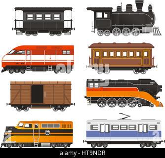 Lokomotive Transport Bahntransport-Vektor-Illustration zu trainieren. - Stockfoto