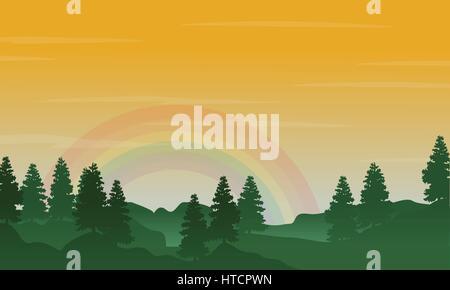 Landschaft der Hügel mit Regenbogen-Silhouetten - Stockfoto