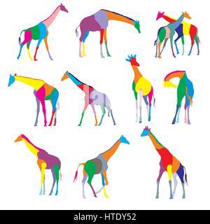 Satz von bunt gefärbten Silhouetten von Giraffen isoliert auf weißem Background - Stockfoto