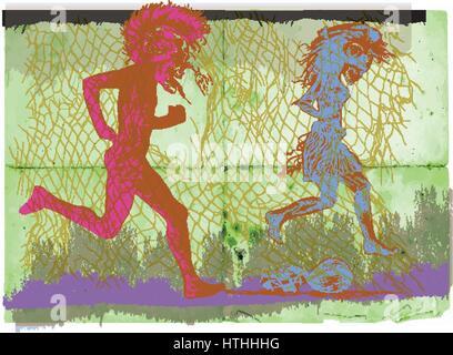 Laufen Punk, laufen - eine Hand gezeichnete Vektor. Mit Knochen Gentleman und Knochen Dame hinter den Zaun springen. - Stockfoto