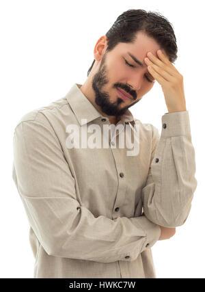 Betreffenden Führungskraft mit Kopfschmerzen und eine Menge Probleme. - Stockfoto