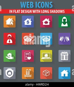 Immobilien Web Icons im flat Design mit langen Schatten - Stockfoto