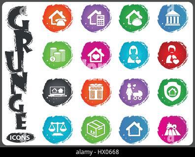 Immobilien Symbole eingestellt für Websites und Benutzeroberfläche im Grunge-Stil - Stockfoto