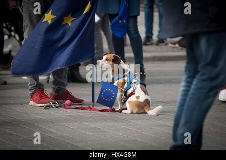 """Berlin, Deutschland Hunde 25. März 2017 für ein vereintes Europa. Europäer in der """"Marsch für Europa"""" in Berlin, - Stockfoto"""