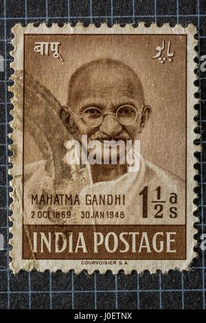 Mahatma Gandhi, Briefmarken, Indien, Asien - Stockfoto