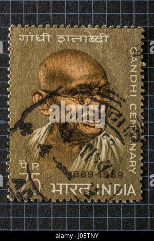 Mahatma Gandhi Centenary, Briefmarken, Indien, Asien - Stockfoto