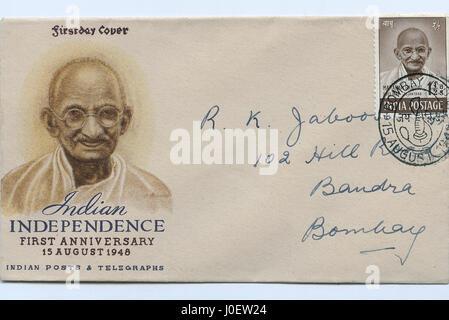 Ersttagsbrief von Briefmarken, Indien, Asien - Stockfoto