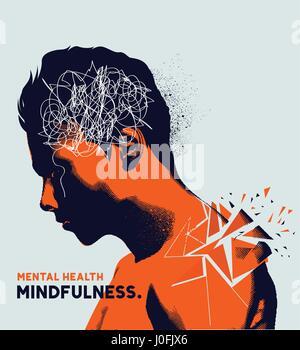 Ein Mann mit seinem Kopf gesenkt, erschütternd, mit psychischen Problemen. Angst, Depression und Achtsamkeit Bewusstsein - Stockfoto