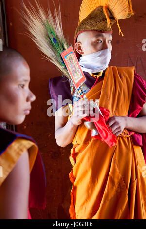 Mönch, Tamshing Phala Chhoupa Festival, Tamshing Kloster, Nr. Jakar, Bumthang, Bhutan - Stockfoto