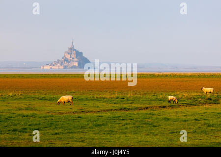 Panoramablick auf den berühmten Le Mont Saint-Michel tidal Island, Frankreich. - Stockfoto