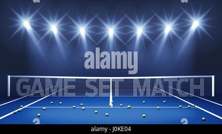 Blaue Tennis-Hartplatz, beleuchtet durch Strahler mit Game/Set/Match Print-on-net, Tennis-Turnier-arena - Stockfoto