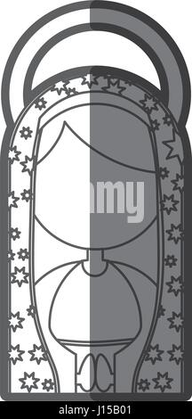 monochrome Silhouette Abbildung Fasceless Jungfrau Maria Cartoon mit aureole - Stockfoto