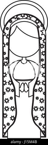 Silhouette Abbildung Fasceless Jungfrau Maria Cartoon mit Heiligenschein und Mantel dekorieren - Stockfoto