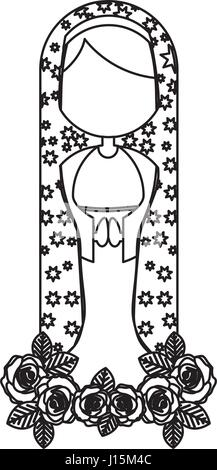 Silhouette Abbildung Fasceless Jungfrau Maria Cartoon mit Mantel dekorieren - Stockfoto