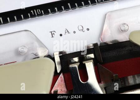 F.A.Q. mit alten Schreibmaschine geschrieben - Stockfoto