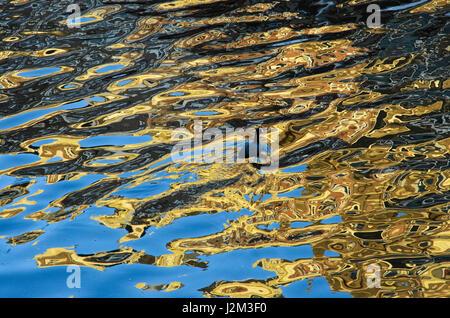 Ein Wasserhuhn Schwimmen im Plätschern Reflexionen in einem Amsterdamer Kanal - Stockfoto