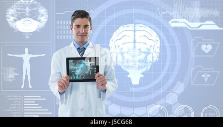 Digitalen Verbund der Arzt zeigt medizinische Zeichen über futuristische Hintergrund - Stockfoto