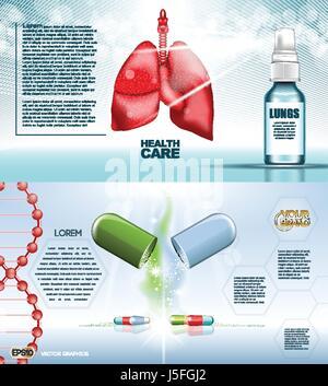 Digitale Vektor rote Medizin Lungen strukturieren Infografiken der Atemwege im Gesundheitswesen Mockup und Pillen, - Stockfoto