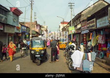 Marktstraße, Trivandrum (Thiruvananthapuram). Kerala, Indien - Stockfoto
