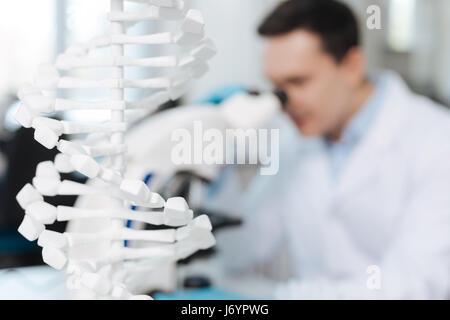 Nahaufnahme des weißen Modells hilft DNA genetische Forschung - Stockfoto