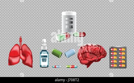 Digitale Vektor rote Medizin Lungen Struktur und Gehirn Infografiken der Atemwege Gesundheitswesen Mockup und Pillen - Stockfoto