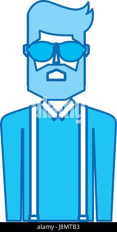 blaues Symbol Oberkörper Mann - Stockfoto