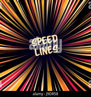 Manga Geschwindigkeitsvektor Linien. Layout für Comic-Bücher. Banner mit radialen farbigen Effekt-Illustration. - Stockfoto