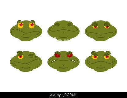 Frosch Emoji Satz. Kröte Avatar gut und Böse amphibischen. Schläft und zwinkert. Freude und Trauer Gesicht Reptil - Stockfoto