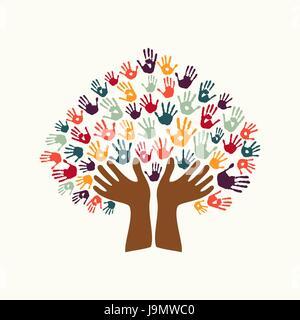 Menschliche Handabdruck-Baum-Symbol mit Händen bunten ethnischen Gruppe. Vielfältige Kultur Konzept Illustration - Stockfoto