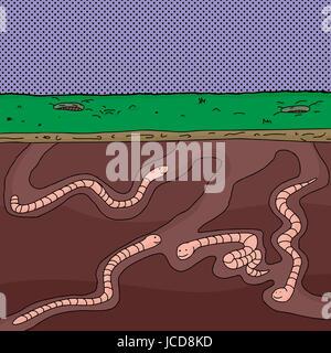 Vier cartoon-Würmer Graben unterirdische Tunnel - Stockfoto