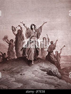 Iphis, Tochter des Jephtha, in Richtung ihres Vaters geopfert werden.  Biblische Szene aus dem alttestamentlichen - Stockfoto