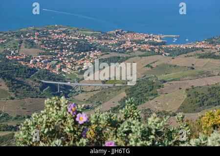 Landschaft der Küste Dorf von Collioure mit Weinbergen, Feldern und das Mittelmeer, südlich von Frankreich, Roussillon, - Stockfoto
