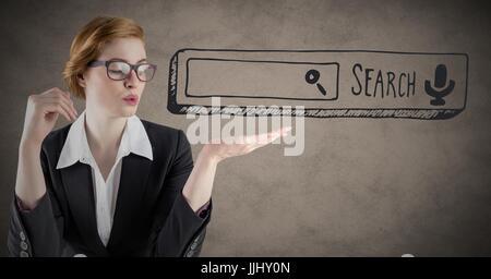 Geschäftsfrau mit Suchleiste in der Hand vor braunem Hintergrund mit 3D Grunge-overlay - Stockfoto