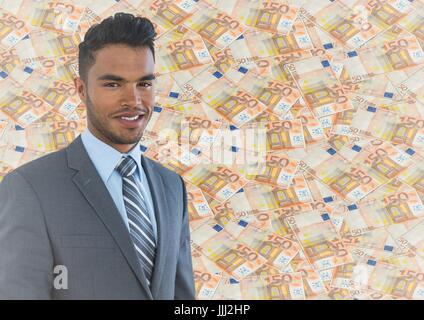 Geschäftsmann gegen Geld Hintergrund - Stockfoto