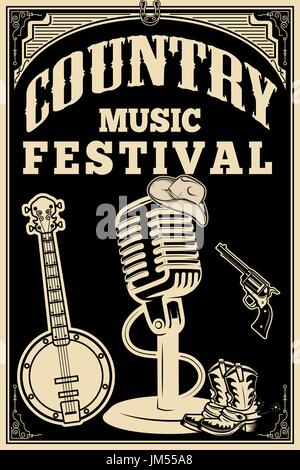 Country-Musik-Festival-Plakat. Alten Stil Mikrofon, Cowboy-Stiefel, Hut, Revolver, Banjo. Vektor-Design-element - Stockfoto