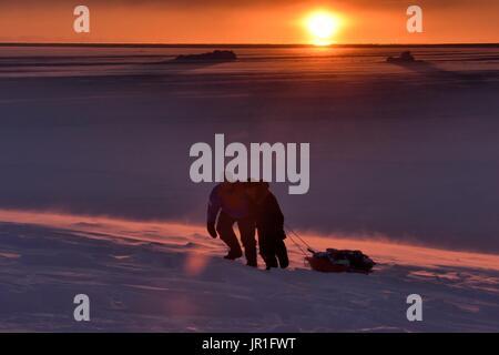 Ziehen Jäger tragen Fleisch in einem Schlitten. Igterajivit Bezirk im Februar, Ostgrönland - Stockfoto