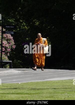 Ein buddhistischer Mönch zu Musik auf dem iphone hören - Stockfoto