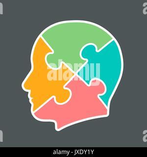 Symbol für einen Kopfschnitt in vier Puzzle Stück Farben pink, orange, Aqua und grün, Vektor, Abbildung - Stockfoto