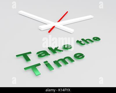 """3D-Darstellung der """"Die Zeit"""" Titel mit einer Uhr als Hintergrund nehmen - Stockfoto"""