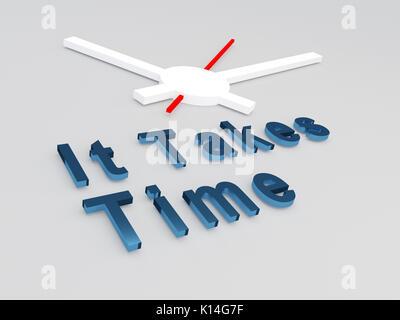 """3D-Abbildung: """"Es braucht Zeit"""" Titel mit einer Uhr als Hintergrund - Stockfoto"""