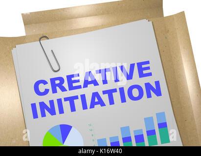 """3D-Darstellung der """"KREATIVE EINLEITUNG"""" Titel auf Business Document - Stockfoto"""