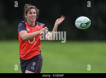 England Kapitän Sarah Hunter während des Trainings an der Queens University, Belfast, vor der Frauen-WM Finale zwischen - Stockfoto