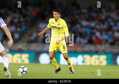 """San Sebastian, Spanien. 25 Aug, 2017. Pablo Fornals (Villarreal) Fußball: Spanisch """"La Liga Santander' Match zwischen - Stockfoto"""