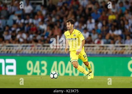 "San Sebastian, Spanien. 25 Aug, 2017. Manu Trigueros (Villarreal) Fußball: Spanisch ""La Liga Santander' Match zwischen - Stockfoto"