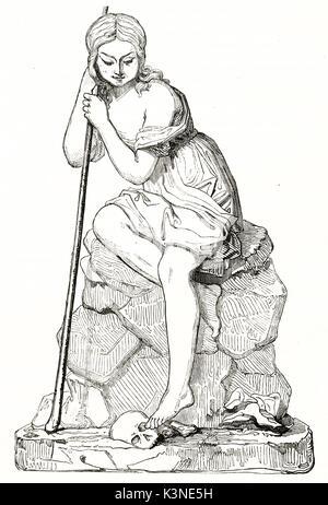 Alten bretonischen Bauern auf einem Stein saß und mit einem Stick mit einer Schädel zu seinen Füßen. Nach Gras auf - Stockfoto