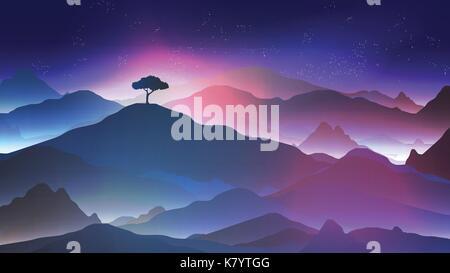 Sternenklare Nacht in den Bergen mit einem einsamen Baum - Vektor-Illustration - Stockfoto