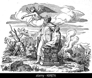 Abraham, der Bindung Isaaks, auch als die Bindung, und der Akedah oder Aqedah, die Opferung Isaaks, digital verbesserte - Stockfoto