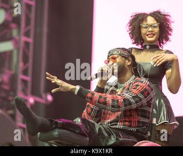 September 22, 2017 - Las Vegas, Nevada, US-Rapper 2 CHAINZ (TAUHEED EPPS) führt vom Rollstuhl aus Während das Leben - Stockfoto