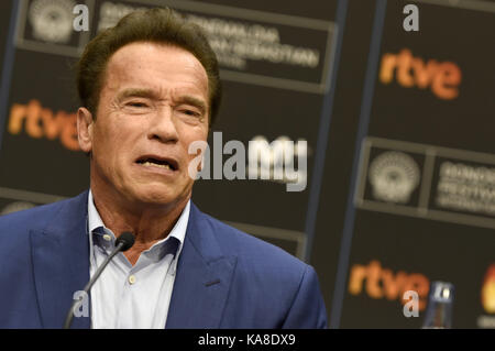 """San Sebastian, Spanien. 25 Sep, 2017. Arnold Schwarzenegger Besucht das """"Wunder von Meer 3 D'Pressekonferenz während - Stockfoto"""
