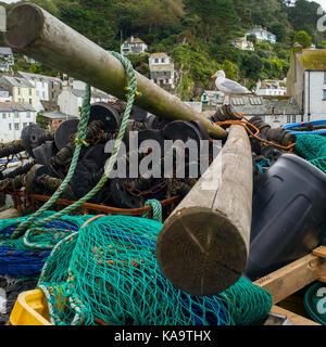 Möwe auf Fischernetze und zur Bekämpfung von Cornwall - Stockfoto